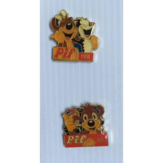 PIF - lot de 2 pin's Pif et Hercule V.M.S 1991 - 1