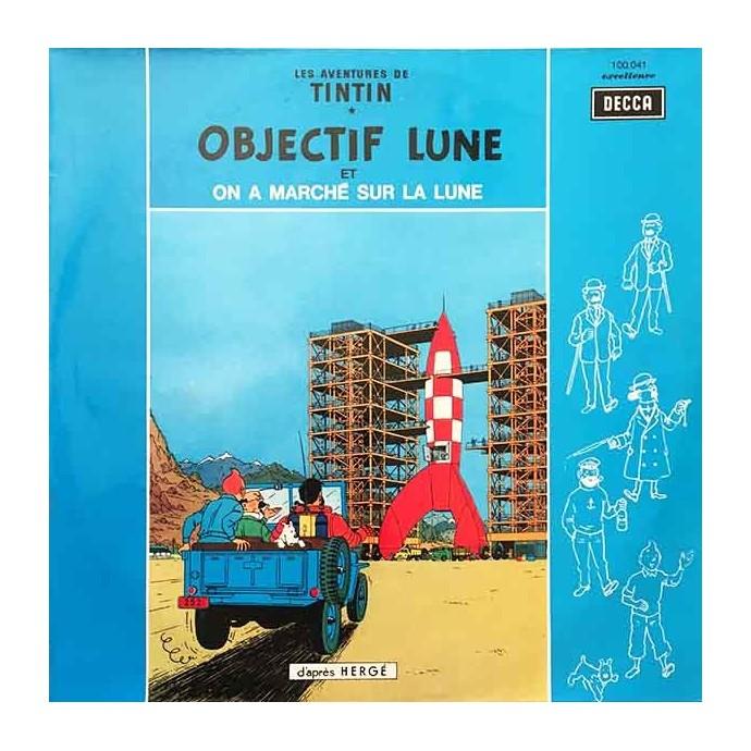 Tintin - Objectif Lune et On a marché sur la Lune - Disque vinyle 33 tours - 1957 - 1